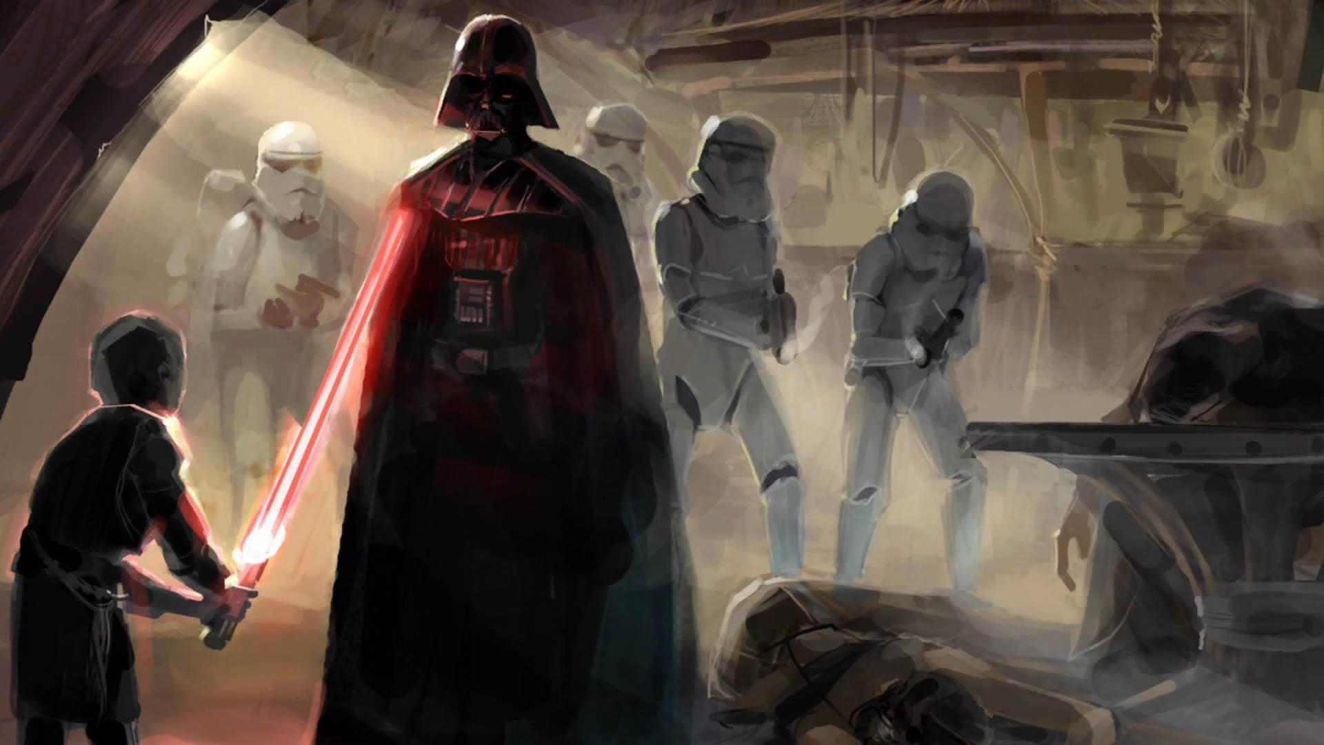 Star Wars Darth Vader Stormtrooper 1920x1080 Wallpaper Teahub Io