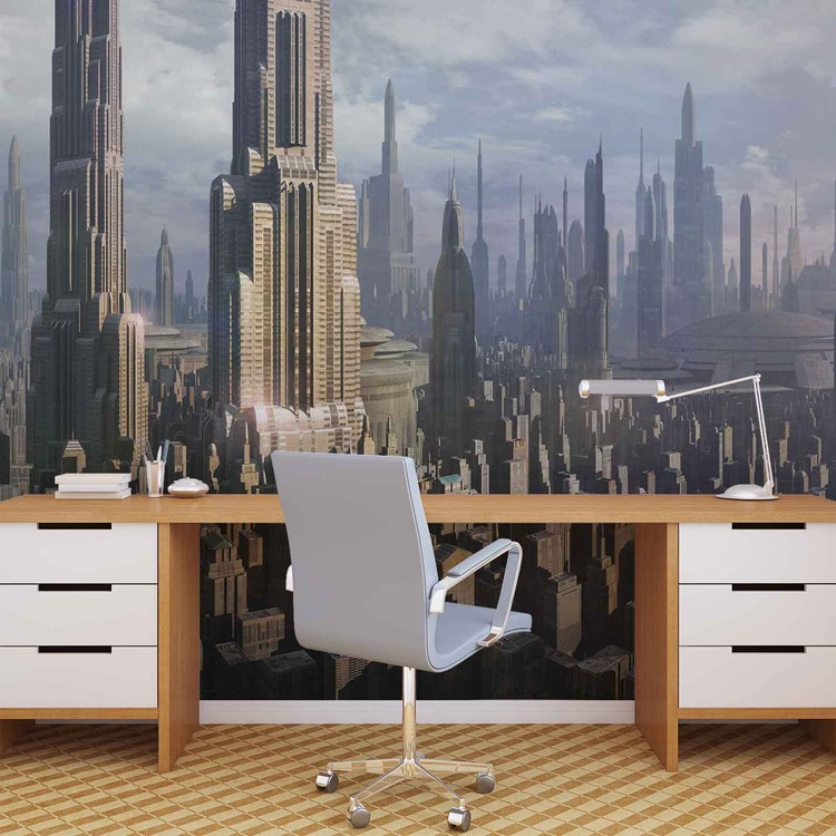 Star Wars City Coruscant Wallpaper Mural Fototapeten Star Wars 750x750 Wallpaper Teahub Io