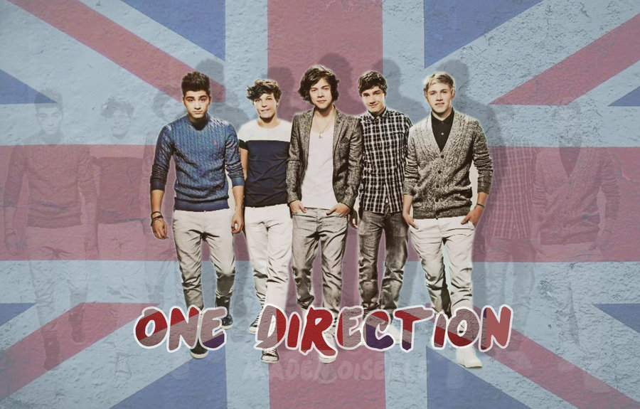 One Direction With British Flag - HD Wallpaper