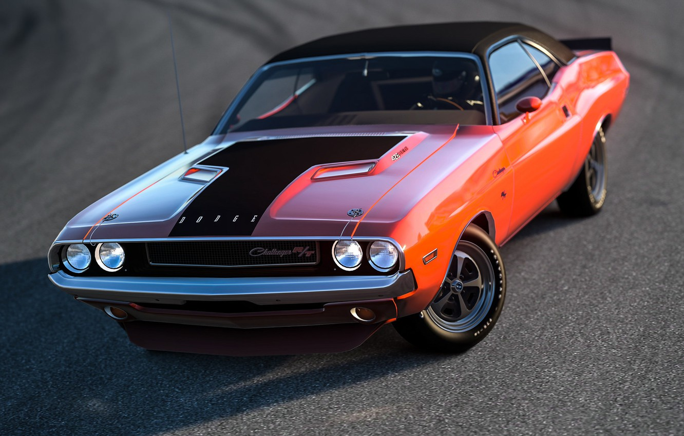 Photo Wallpaper Rendering Background Dodge Challenger Muscle Car Background 1332x850 Wallpaper Teahub Io
