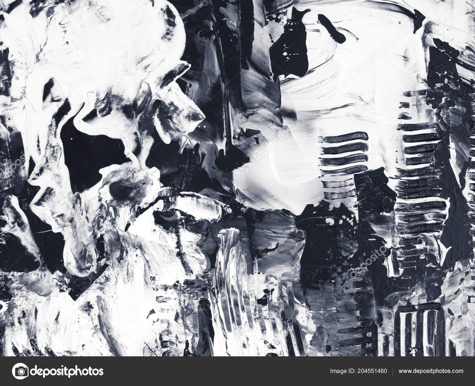 Black And White Acrylic Painting Abstract - HD Wallpaper