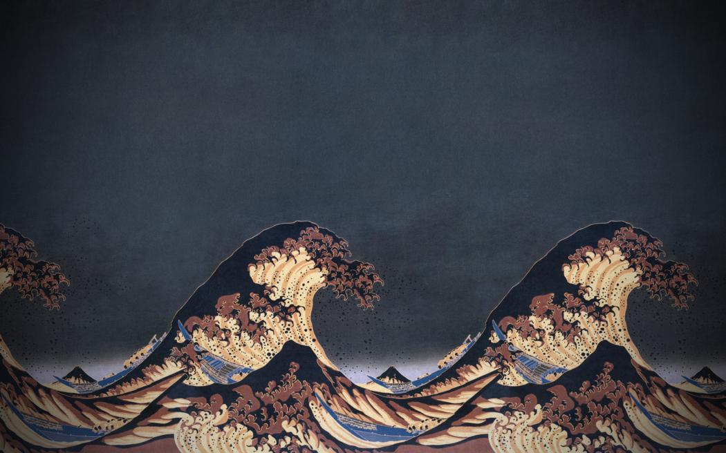 Nature, Blue, The Great Wave Off Kanagawa Wallpapers - Great Wave Off Kanagawa Extended - HD Wallpaper