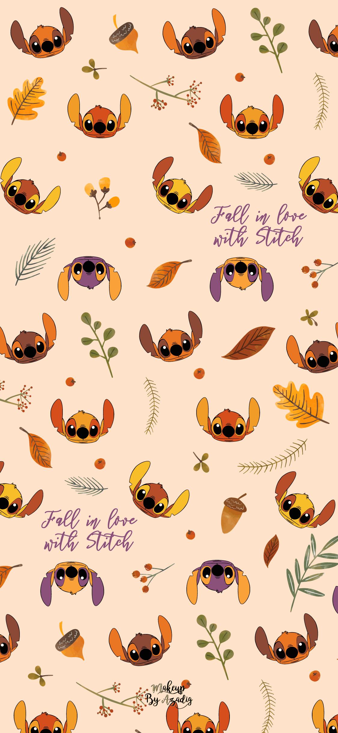 Fond Decran Wallpaper Stitch Autumn Automne Fallinlove Disney Fall Wallpaper Iphone 1125x2436 Wallpaper Teahub Io