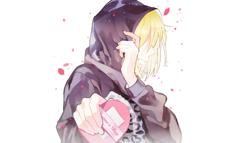 Photo Wallpaper Anime, Art, Guy, Heart, Valentine S - Anime Valentines Day Art - HD Wallpaper
