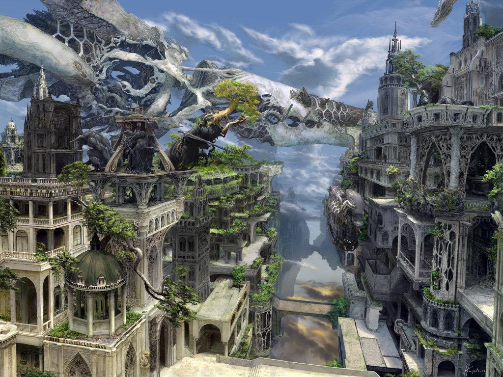 Download Hd Futuristic City Desktop Wallpaper Id - Fantasy Stone City - HD Wallpaper