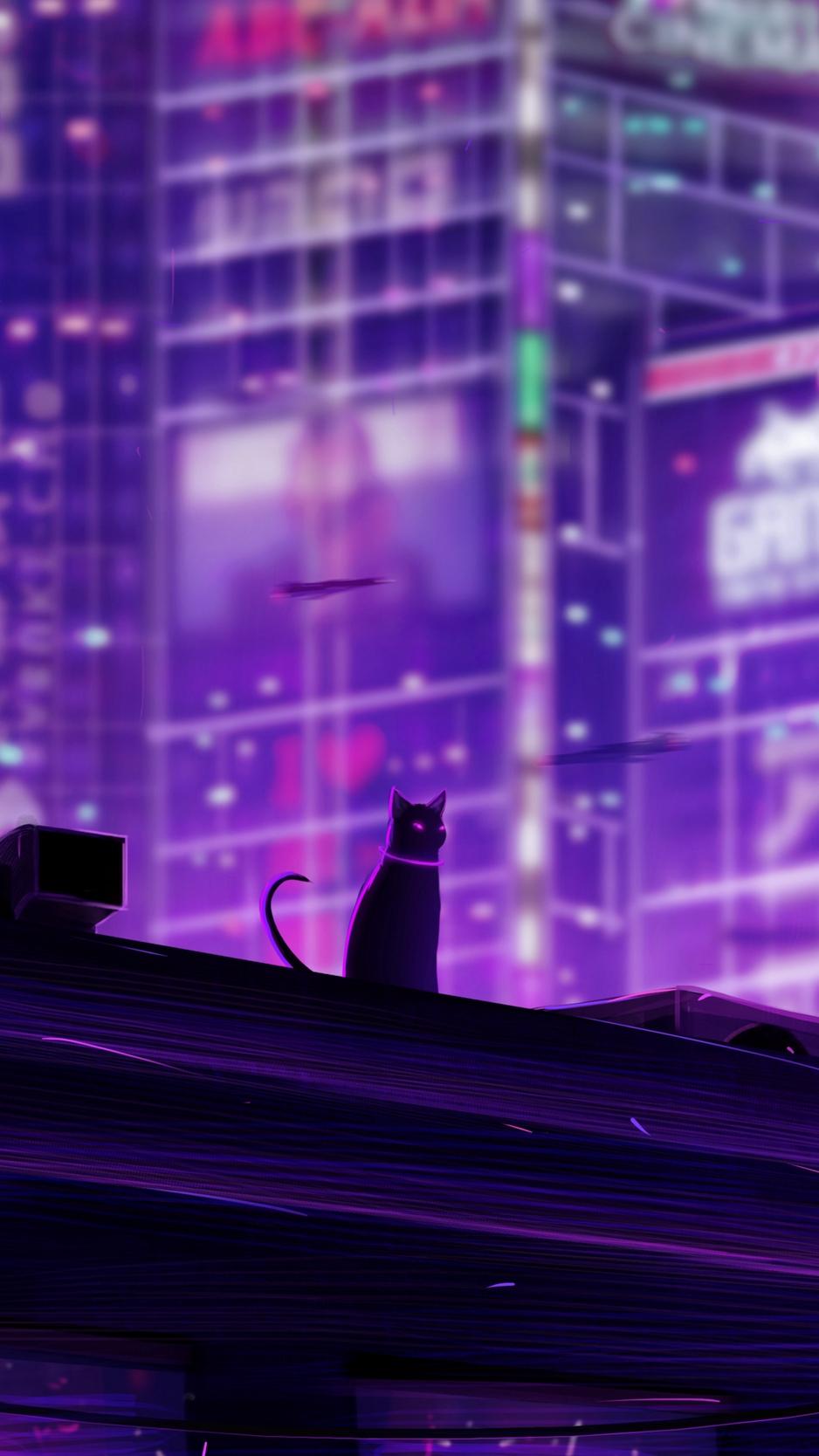 Wallpaper Cat Roof City Future Neon Backlight Neon City Wallpaper 4k 938x1668 Wallpaper Teahub Io