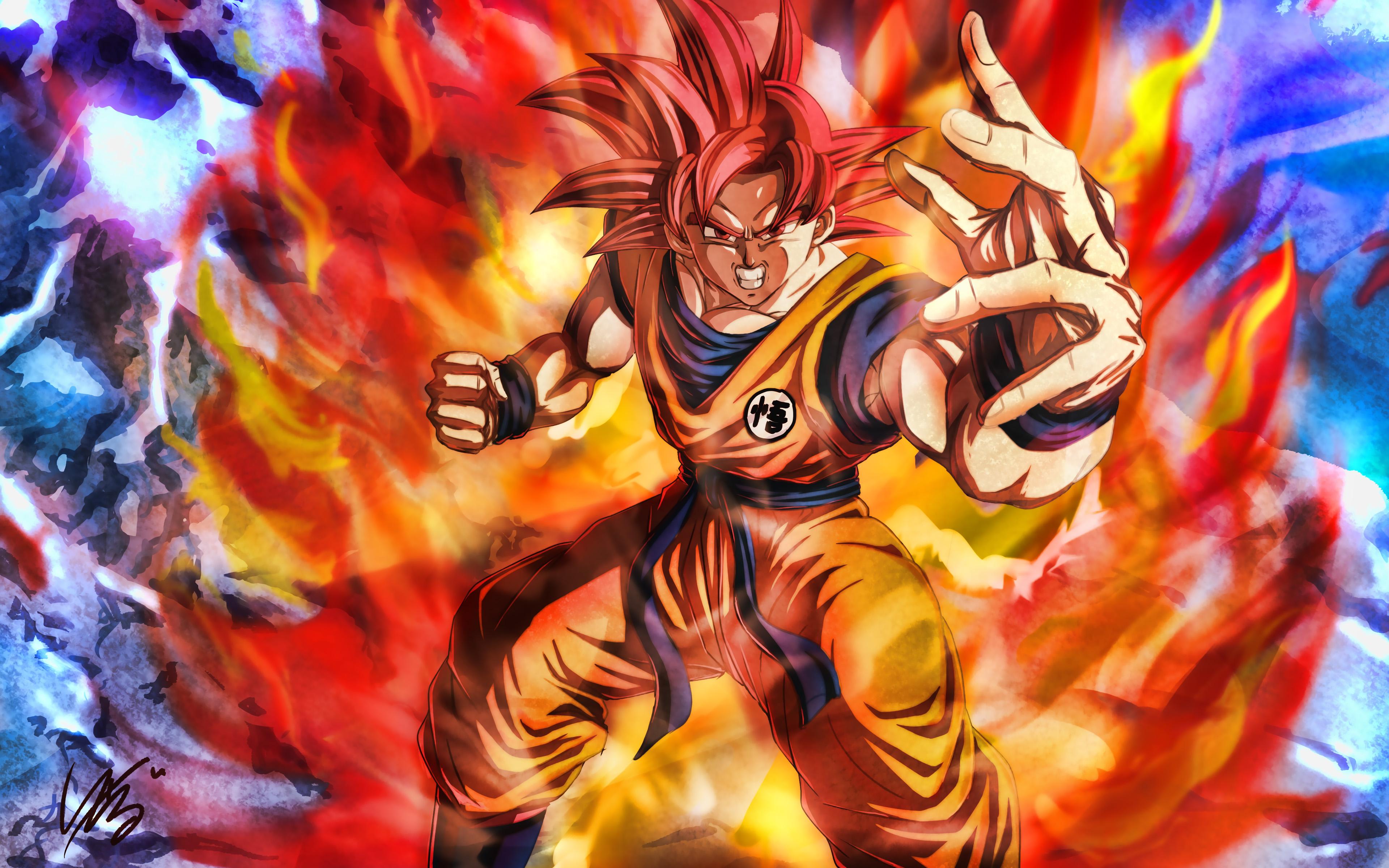 Super Saiyan God 4k Dbs Characters Dragon Ball Goku 3840x2400 Wallpaper Teahub Io