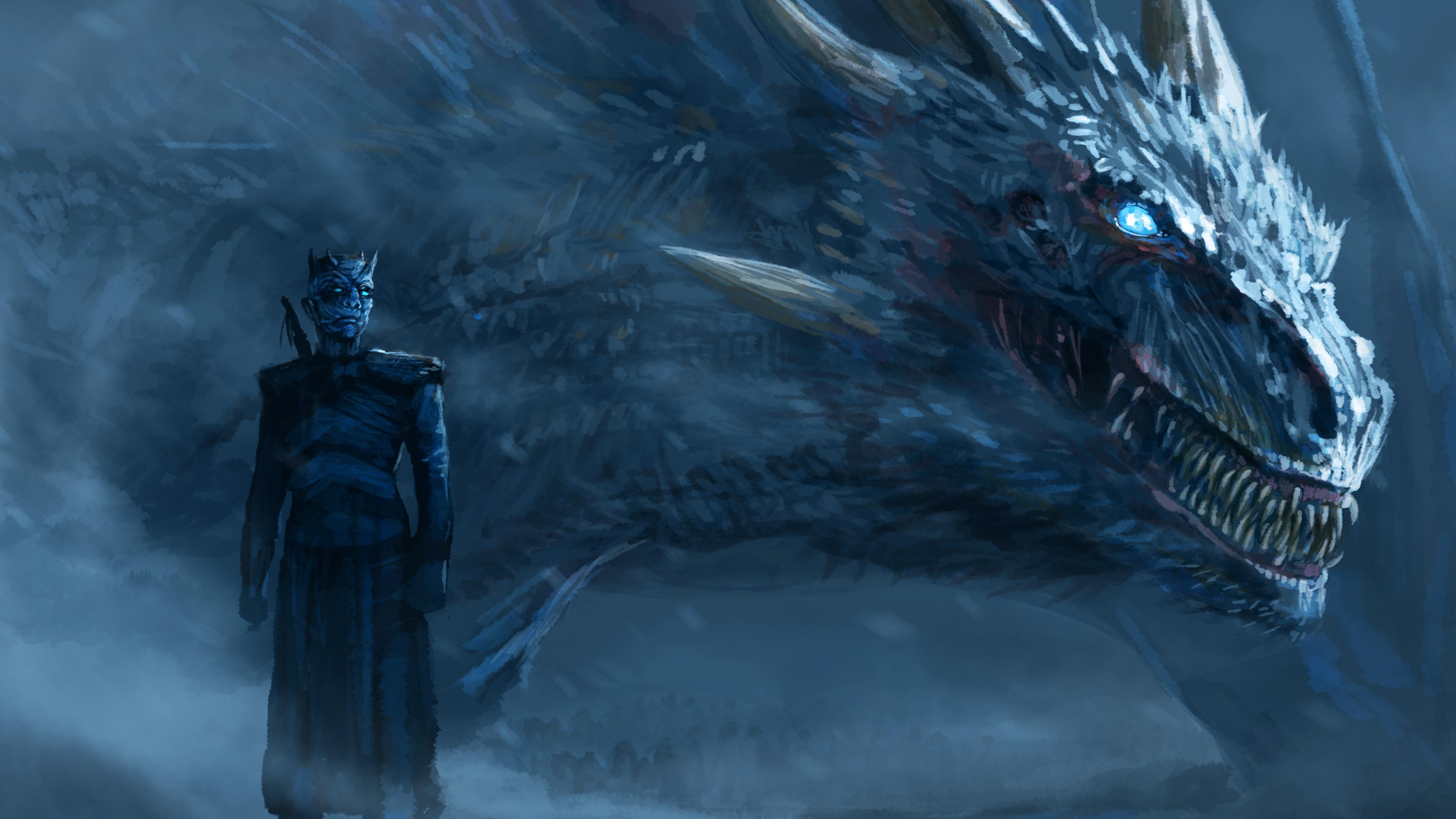 2048x1152, Night King Blue Eyes White Dragon 6b   Data - Game Of Thrones Wallpaper 4k - HD Wallpaper
