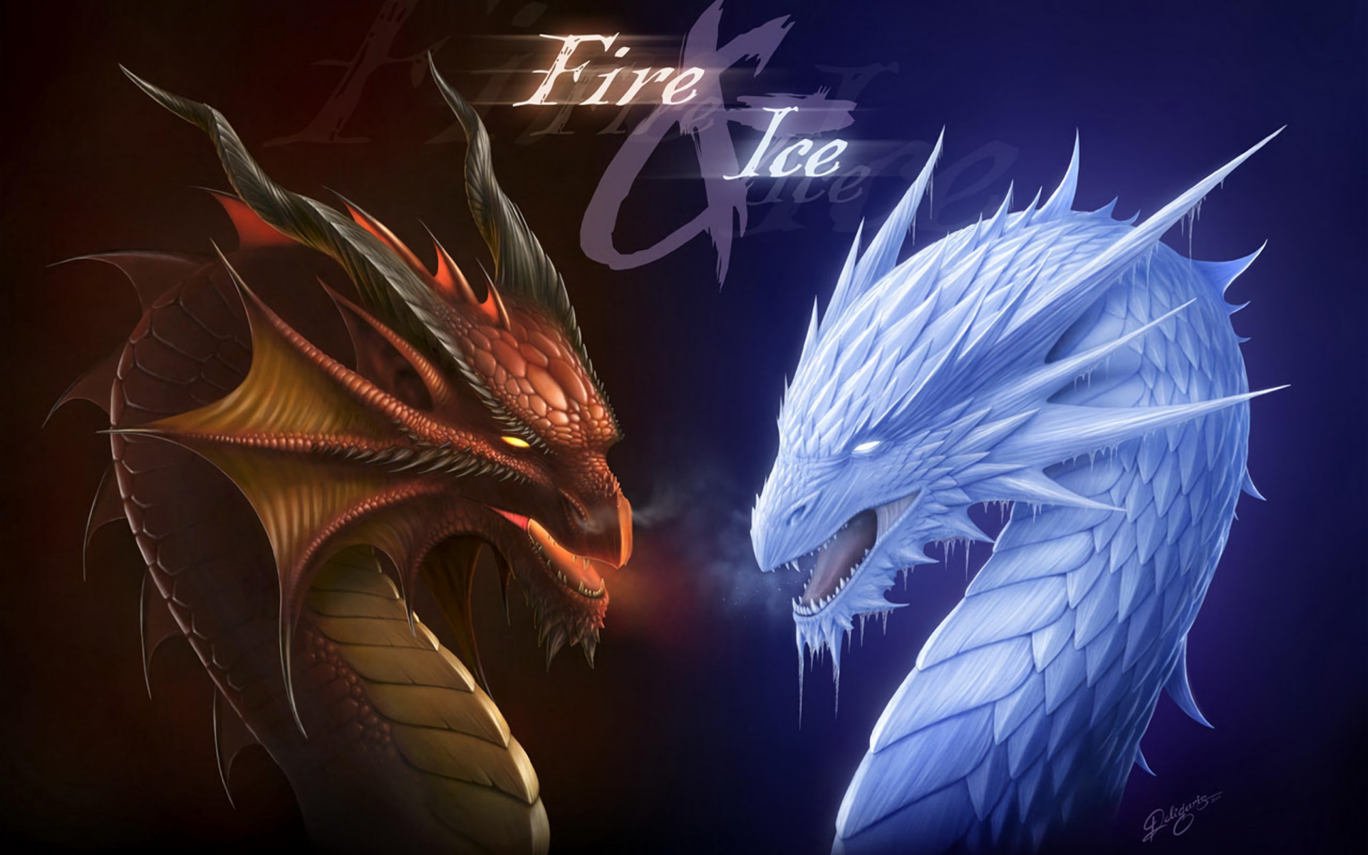 Fire And Ice Dragons Fighting - HD Wallpaper