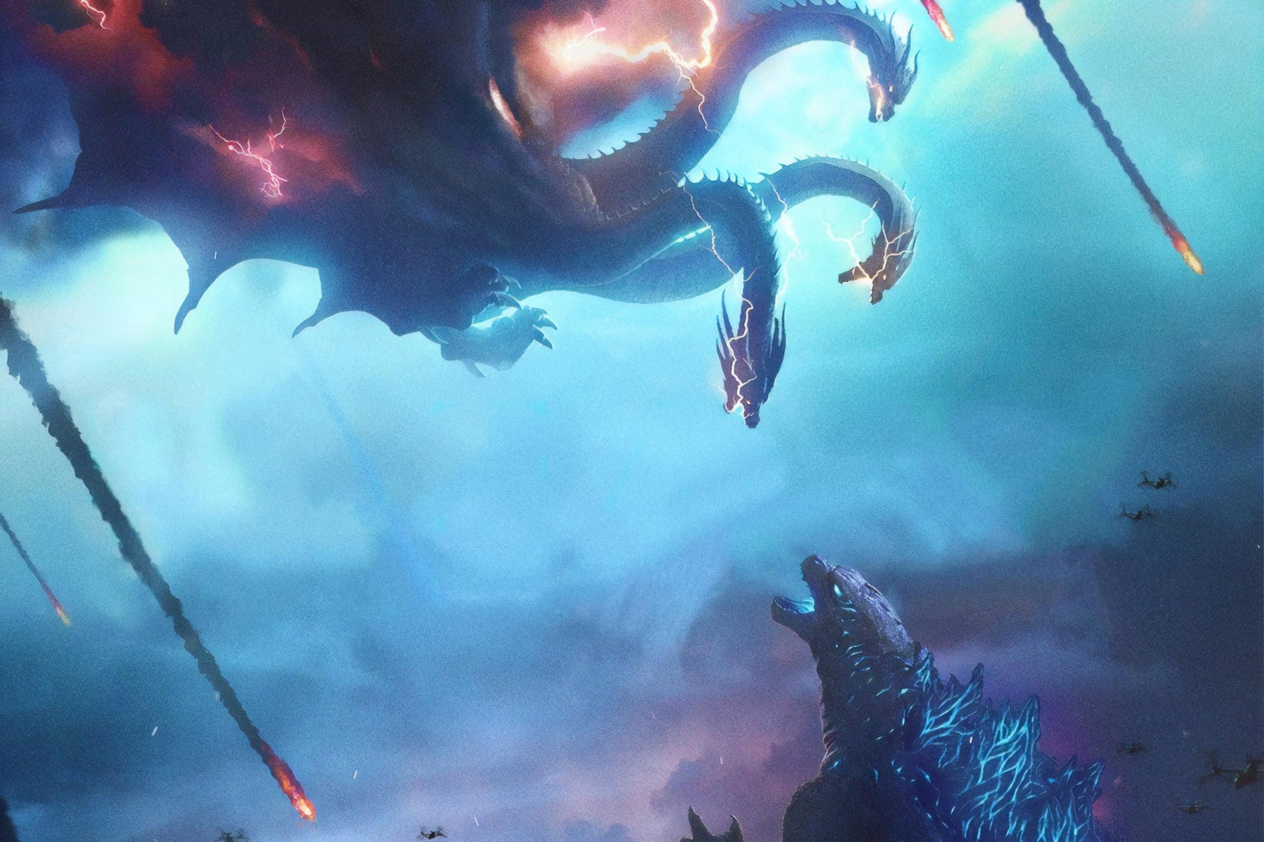 Godzilla Vs 3 Headed Dragon Wallpaper - Godzilla King Of The Monsters Background - HD Wallpaper