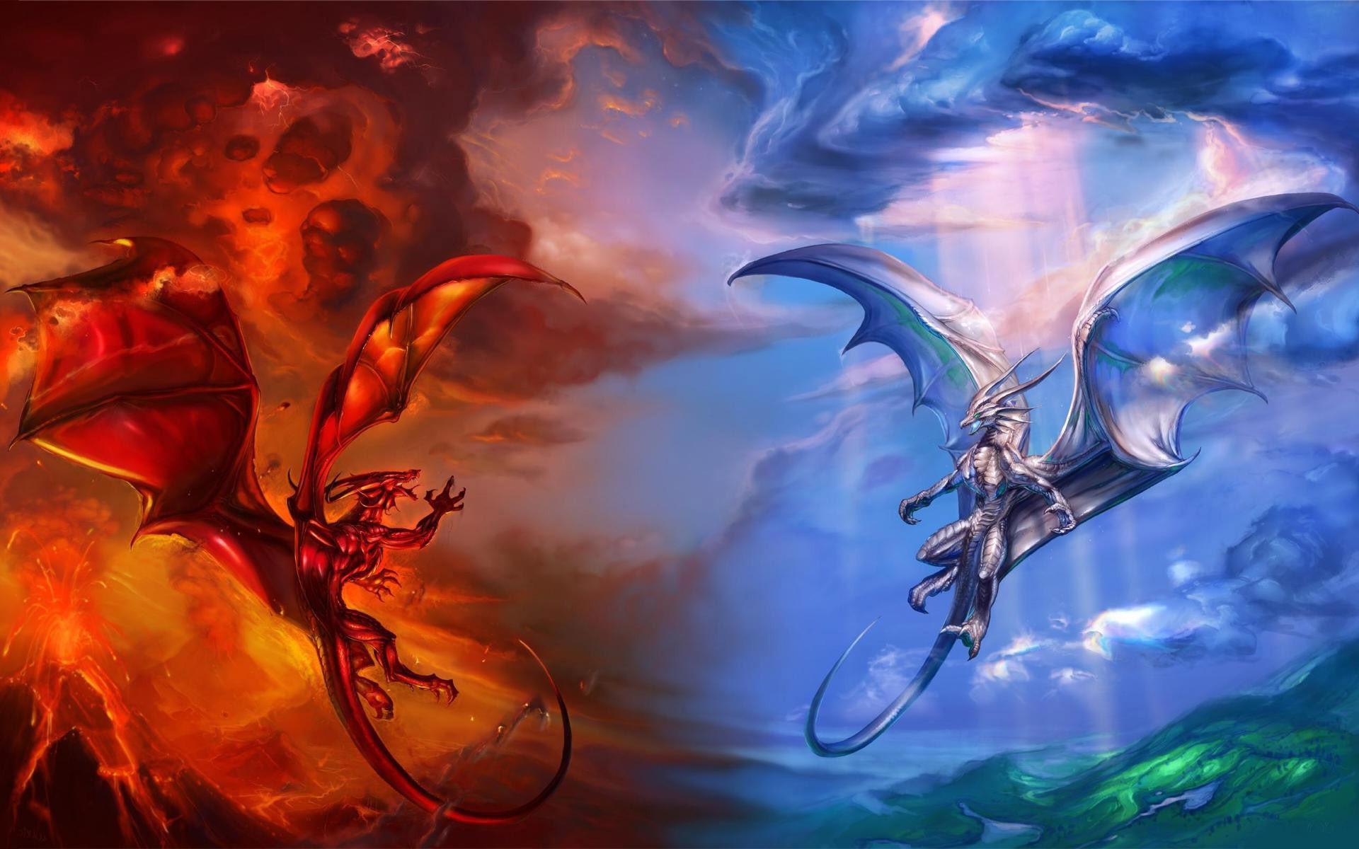 Ice Fire Dragon Wallpaper Hd - Fire Dragon And Ice Dragon - HD Wallpaper