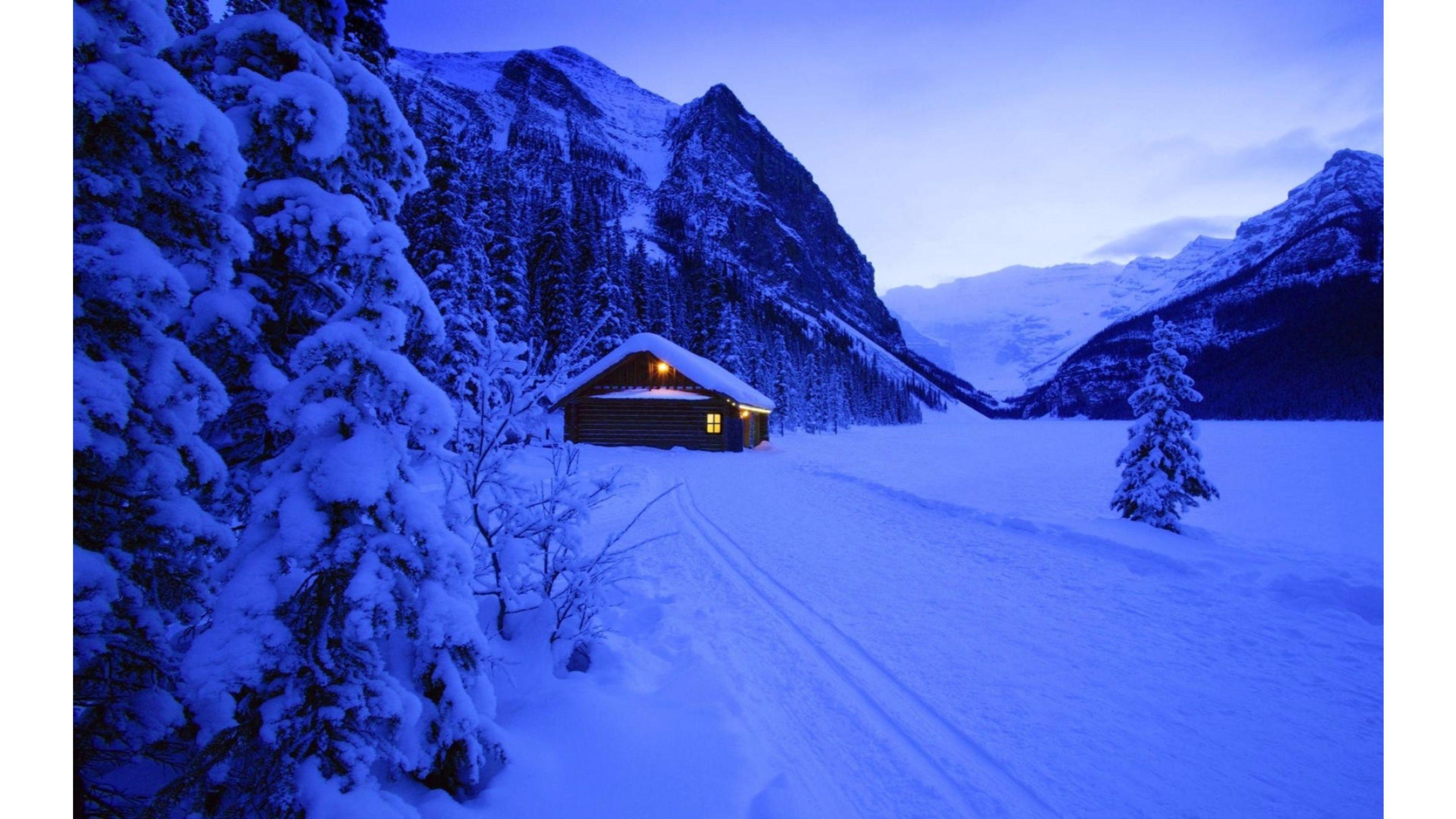 3840x2160 Peaceful Night 4k Winter Wallpaper Data Lake Louise 3840x2160 Wallpaper Teahub Io