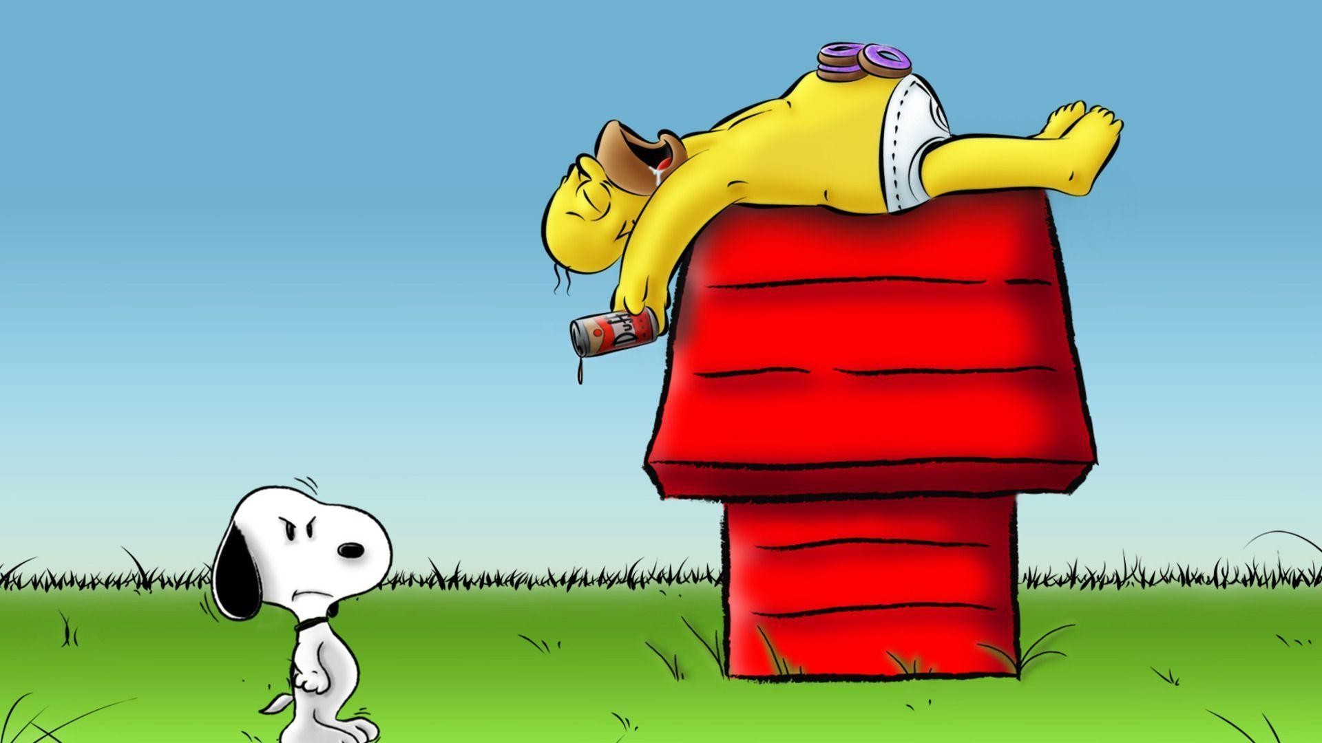 Wallpaper Homer Simpson - Snoopy And Homer Simpson - HD Wallpaper