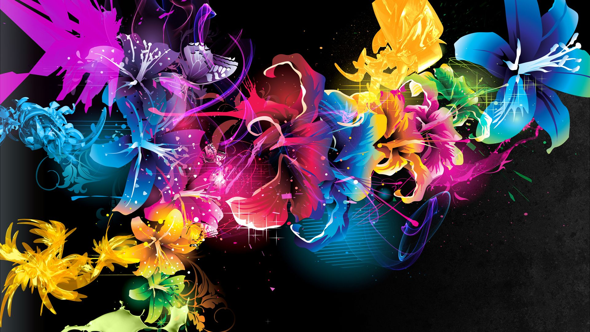 Colorful Flower Abstract Art Wallpaper - Colorful Flower Abstract Art - HD Wallpaper