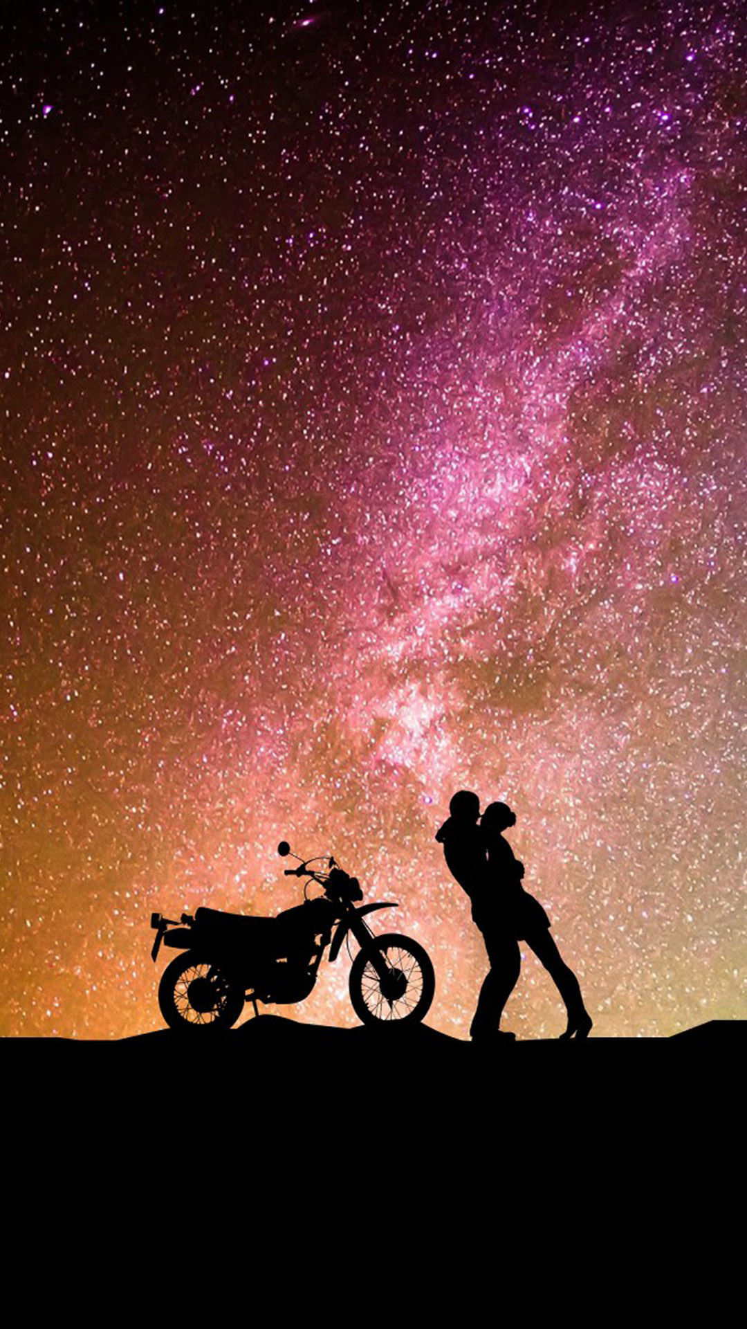 Couple Romantic Kiss Motorcycle Hd Mobile Wallpaper - Love Starry Night Couple - HD Wallpaper
