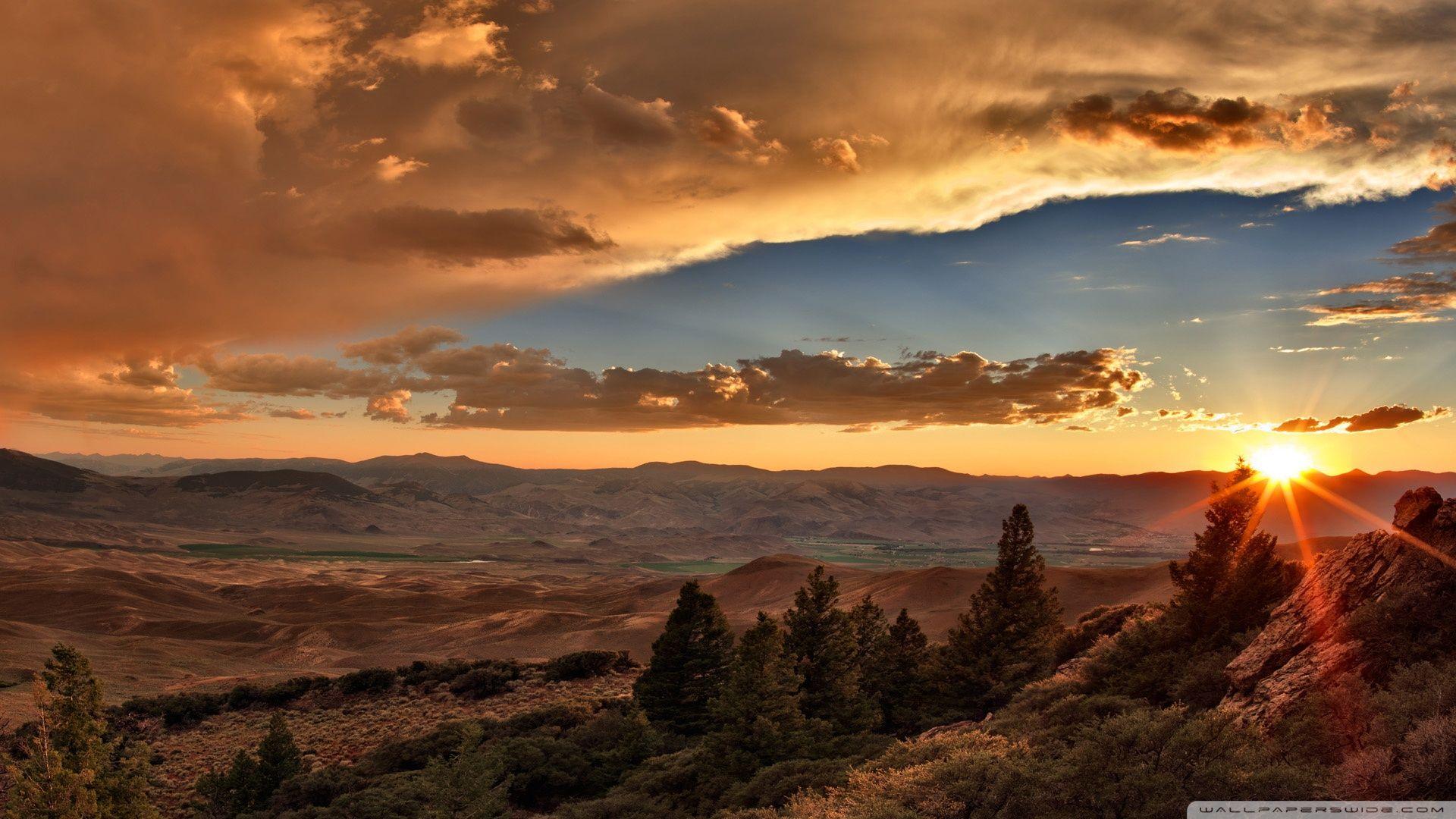 Sunset Over Desert ❤ 4k Hd Desktop Wallpaper For 4k - Hd Wallpaper Mountain Sunset - HD Wallpaper