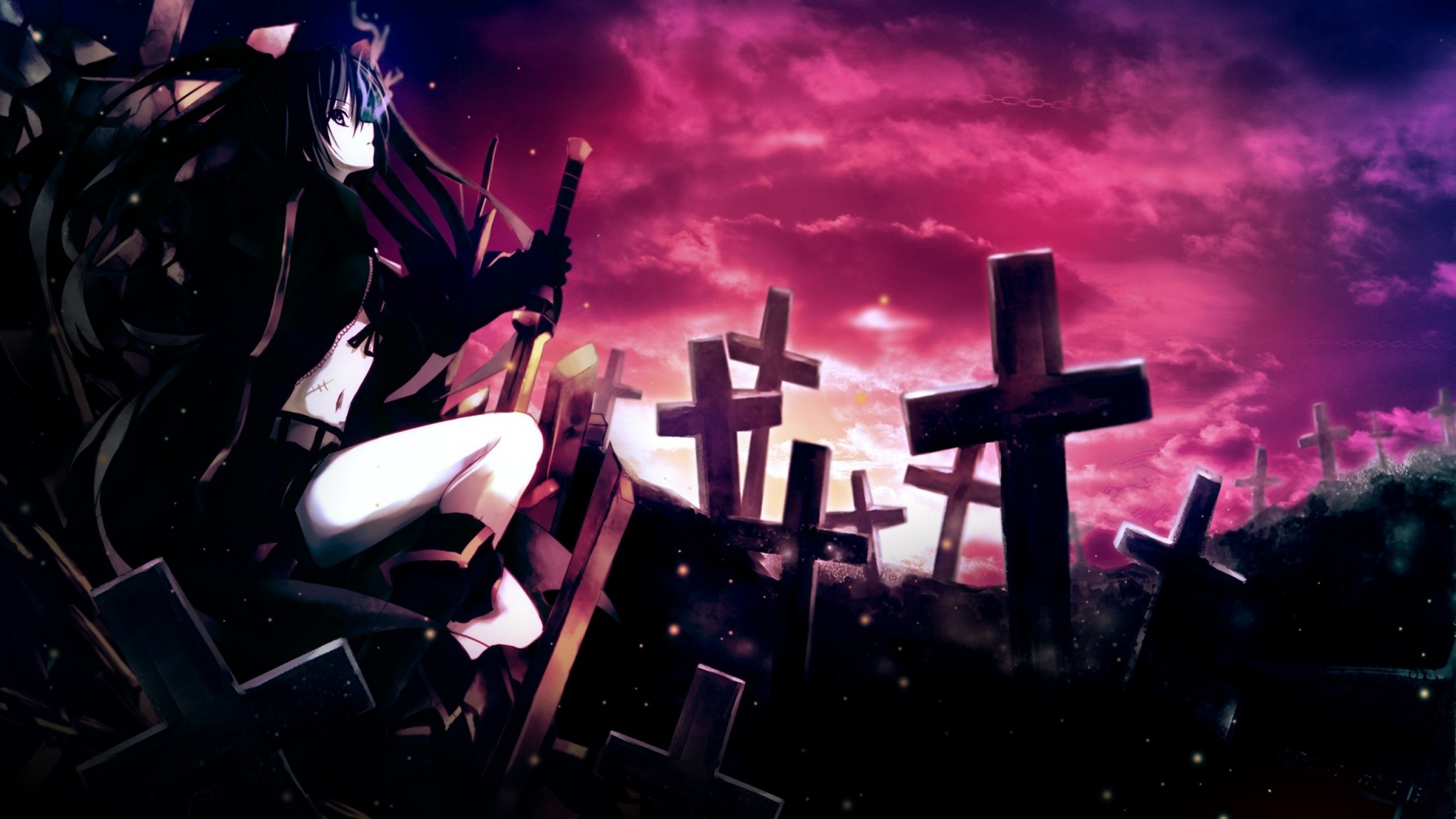 Preview Wallpaper Anime, Girl, Thoughtful, Sword, Cemetery, - 2560 X 1440 Anime - HD Wallpaper