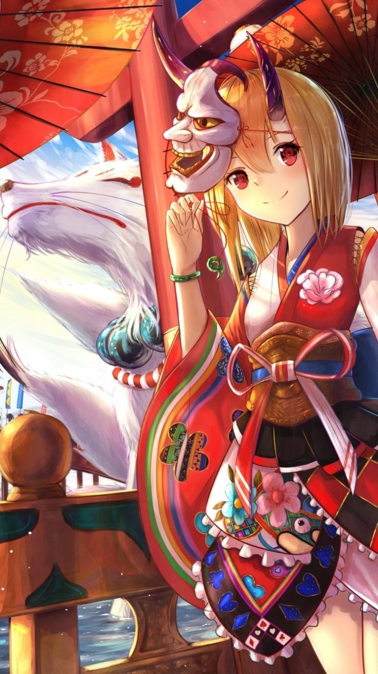 Anime Girls, Kimono, Demons, Shrine, Fox, Masks - Kimono Girl With Fox Mask - HD Wallpaper