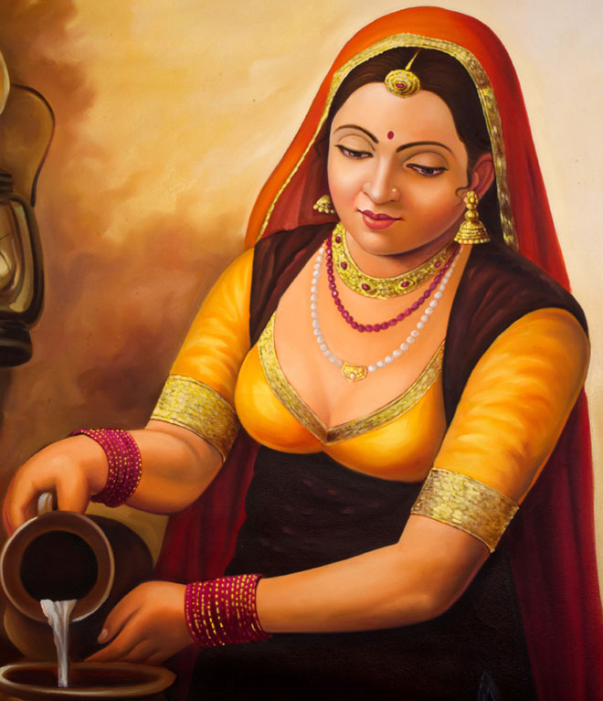 Milk Woman Indian Paintings - Rajasthani Paintings - HD Wallpaper