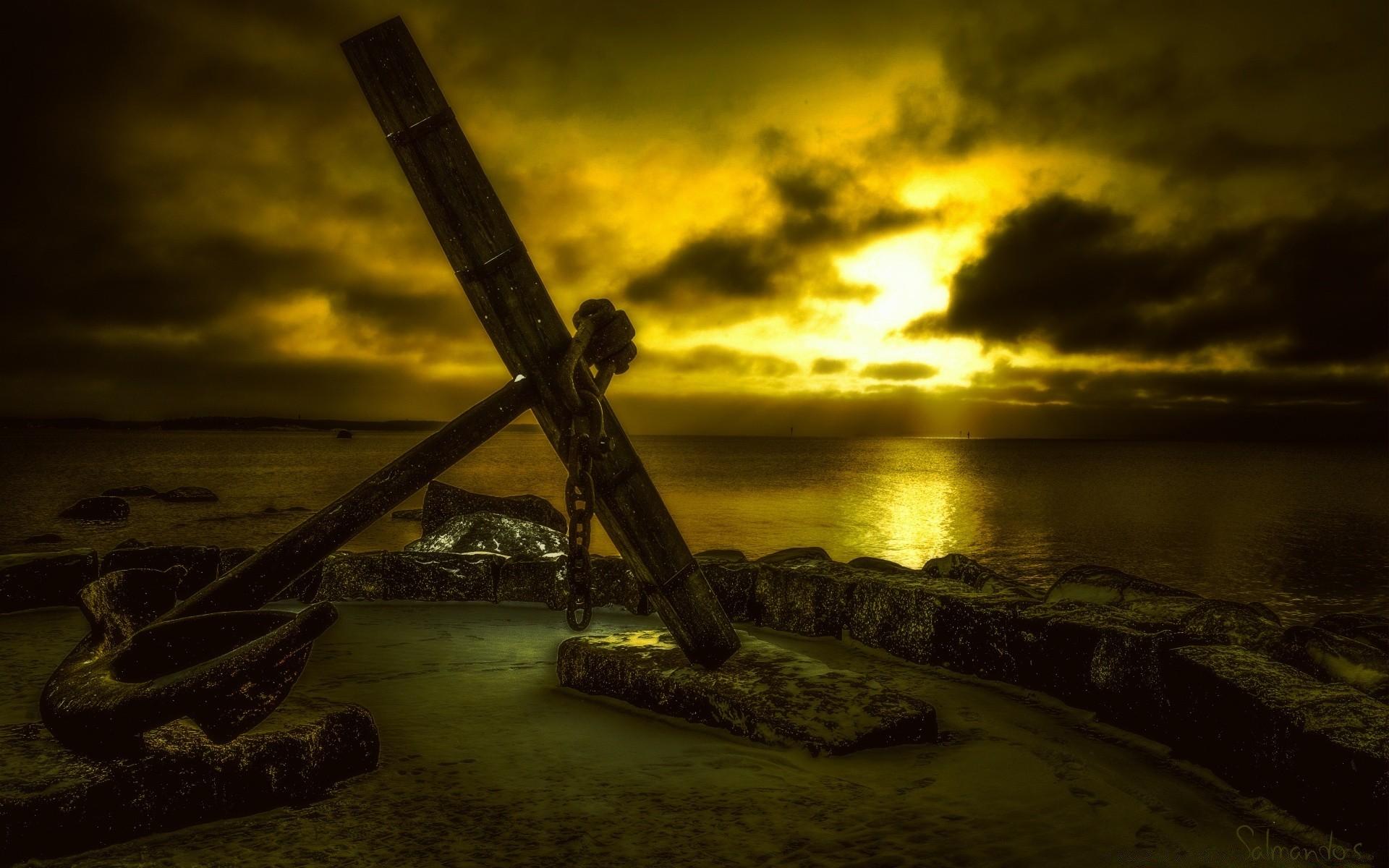 Sea And Ocean Sunset Water Landscape Backlit Dawn Beach - Sea Anchor Bible - HD Wallpaper
