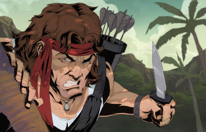 Photo Wallpaper Knife, Soldiers, Arrows, Rambo, Rambo - Rambo Kartun - HD Wallpaper