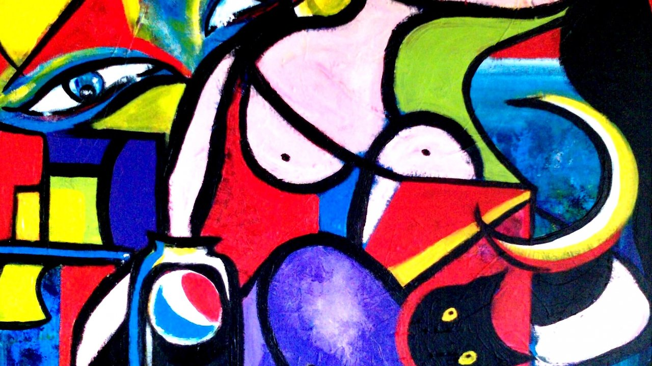 Colorful Abstract Art Pocasso - HD Wallpaper