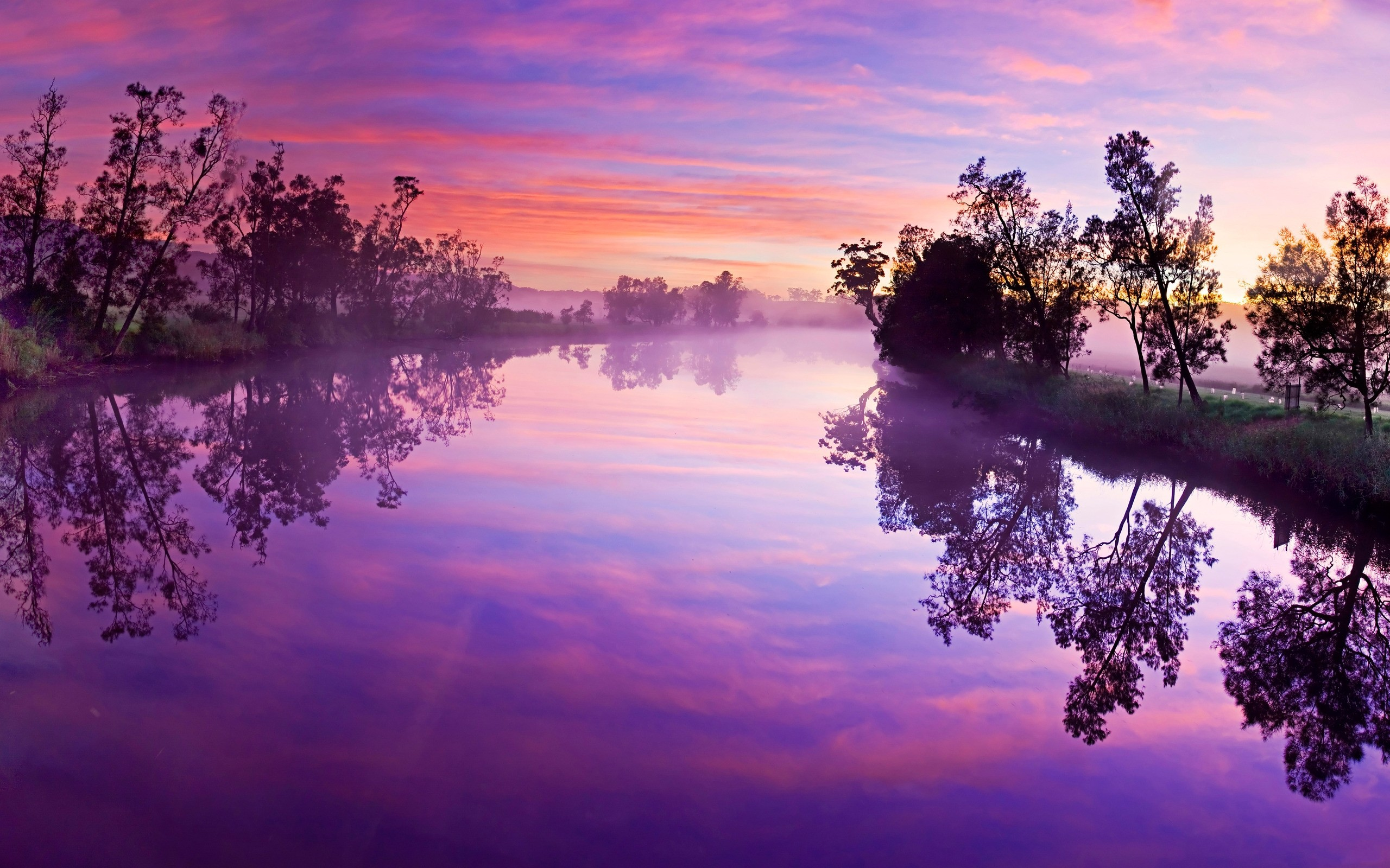 Purple Sunset Over River 2560x1600 Wallpaper Teahub Io