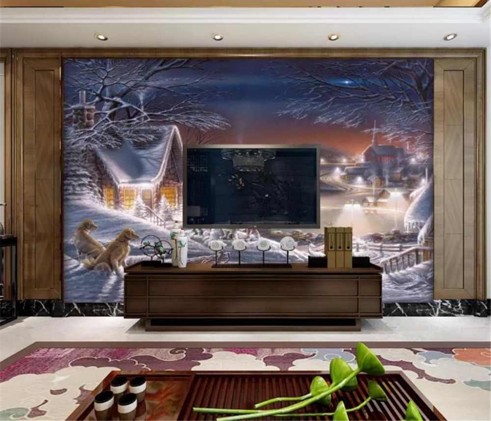 3d Wallpaper Modern Minimalist Idyllic Mountain Village - Tv Background Wall Paint - HD Wallpaper