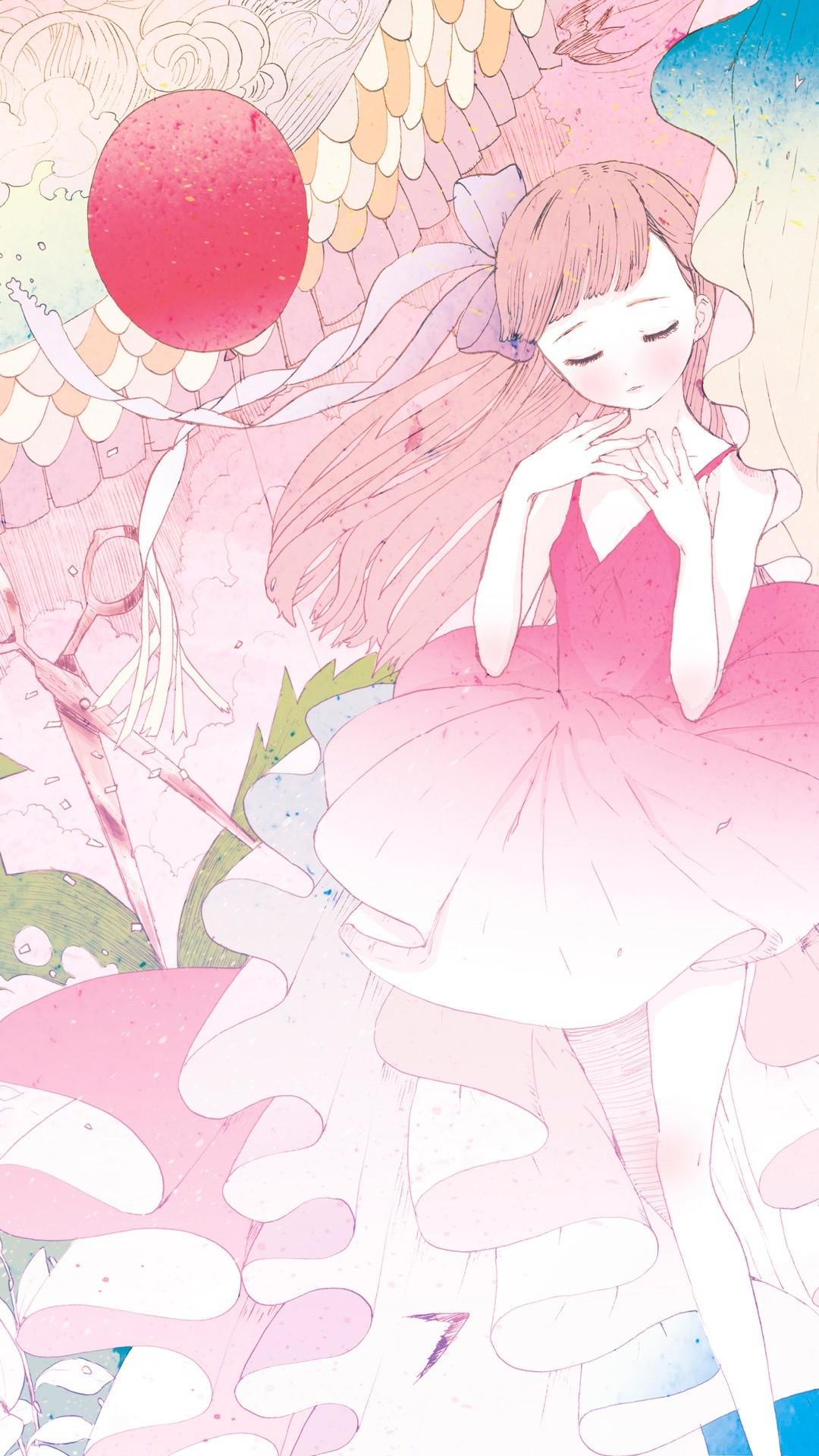 Girl Pink Iphone Wallpapers Anime Girl Phone Screen 1080x1920 Wallpaper Teahub Io