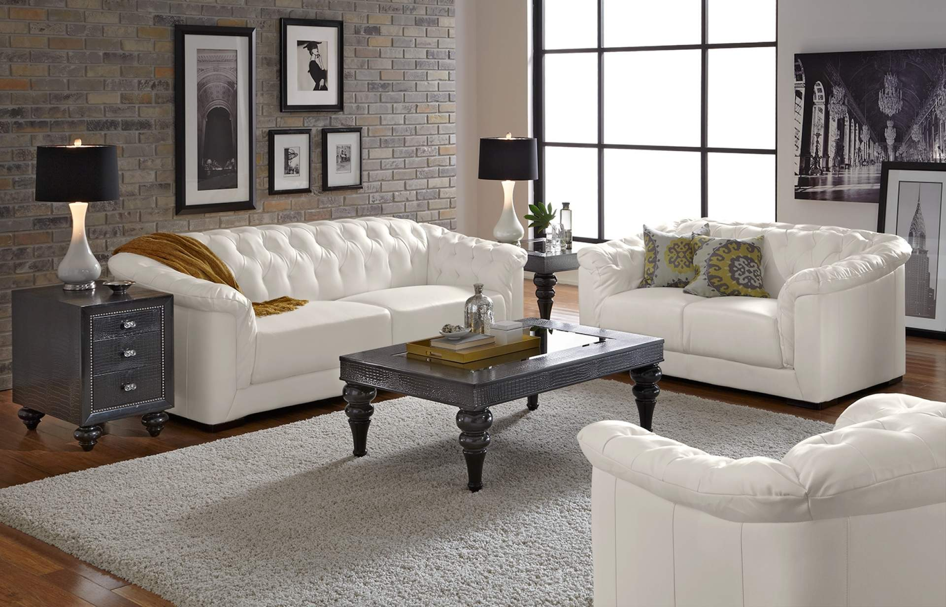Living Room With White Leather Couch 1920x1232 Wallpaper Teahub Io
