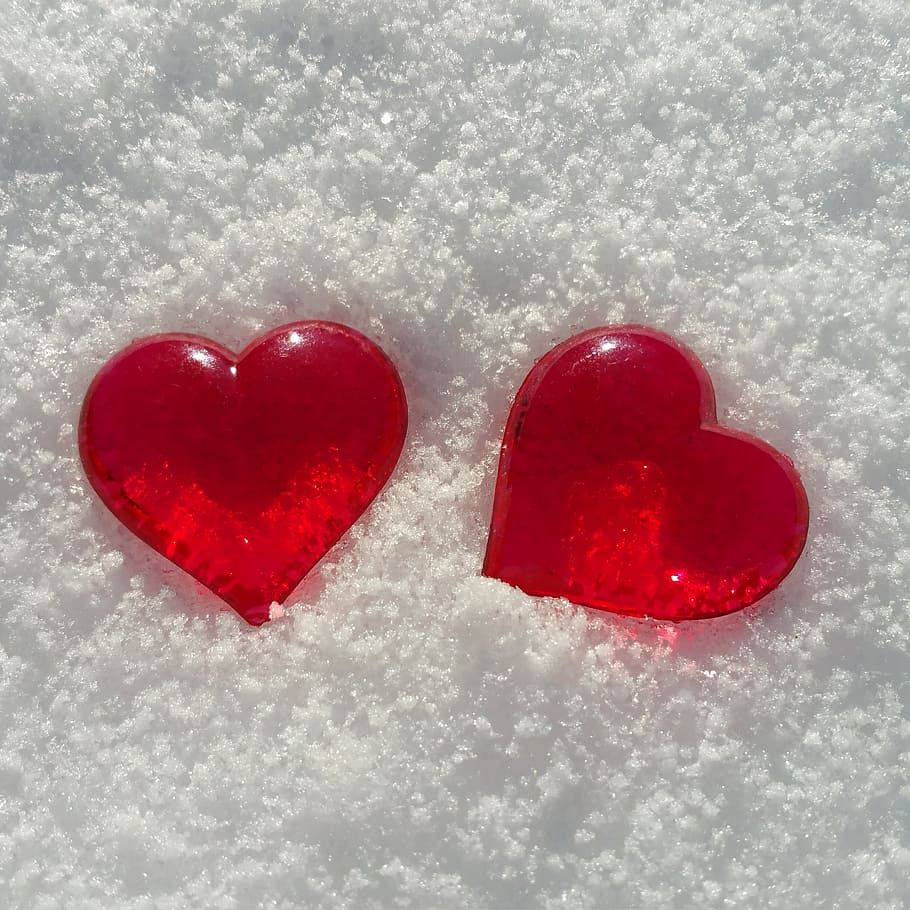 Two Heart-shaped Accessories, Valentine S Day, Snow, - S And F Letter Love - HD Wallpaper
