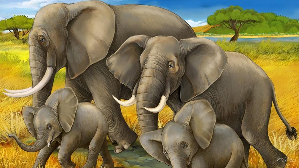 Wall Mural Elephant Art - HD Wallpaper