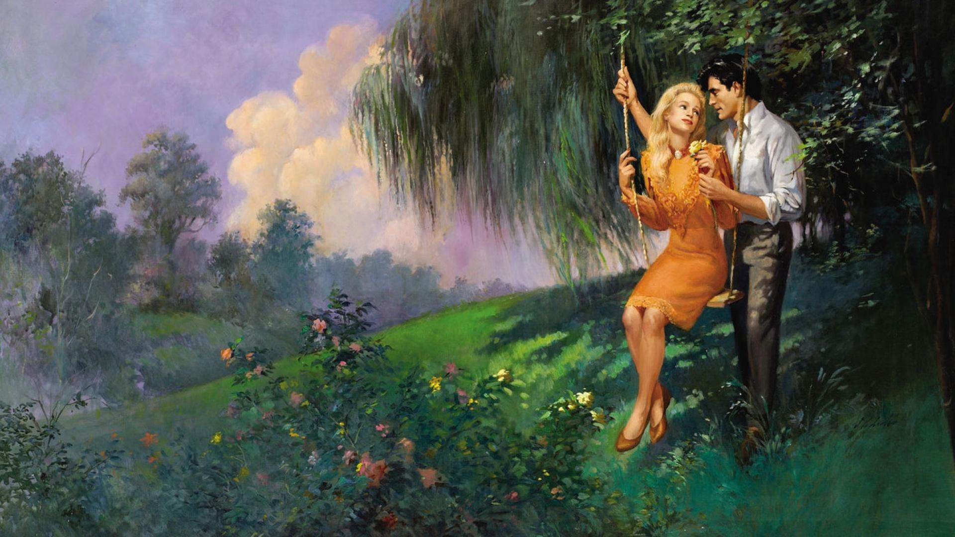 Beautiful Painting Romantic Couple - HD Wallpaper