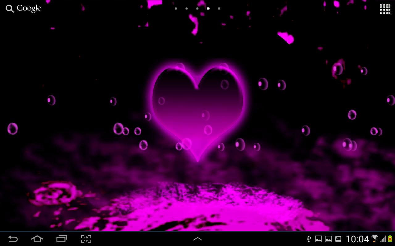 Pink Heart Live Wallpaper - Shiny Neon Hearts - HD Wallpaper