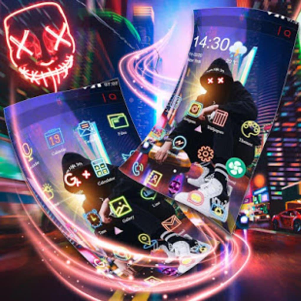 Neon Night Street Man Theme Live Wallpaper - Neon Stret Man - HD Wallpaper