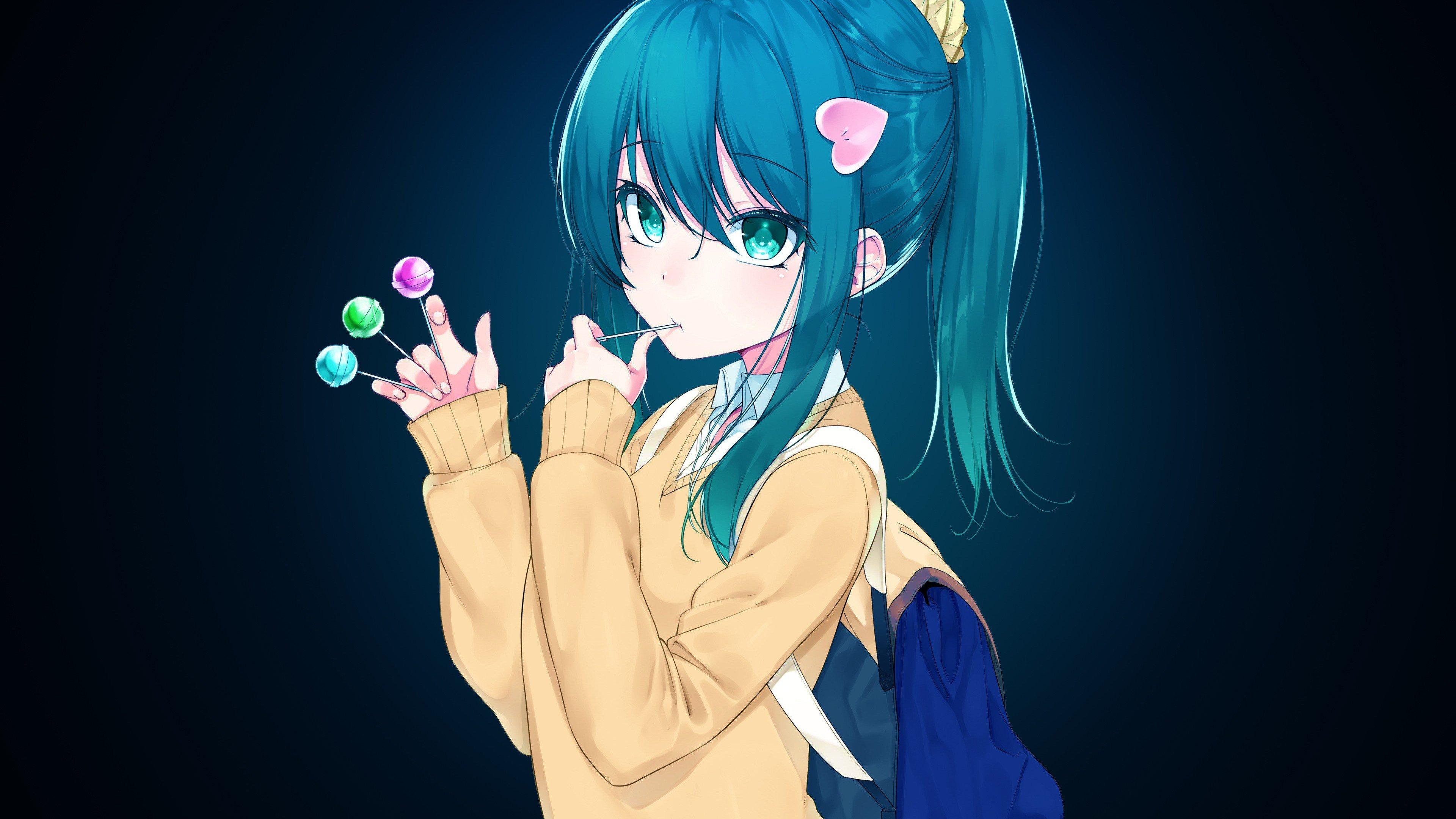 Blue Hair Girl Anime Cute - HD Wallpaper