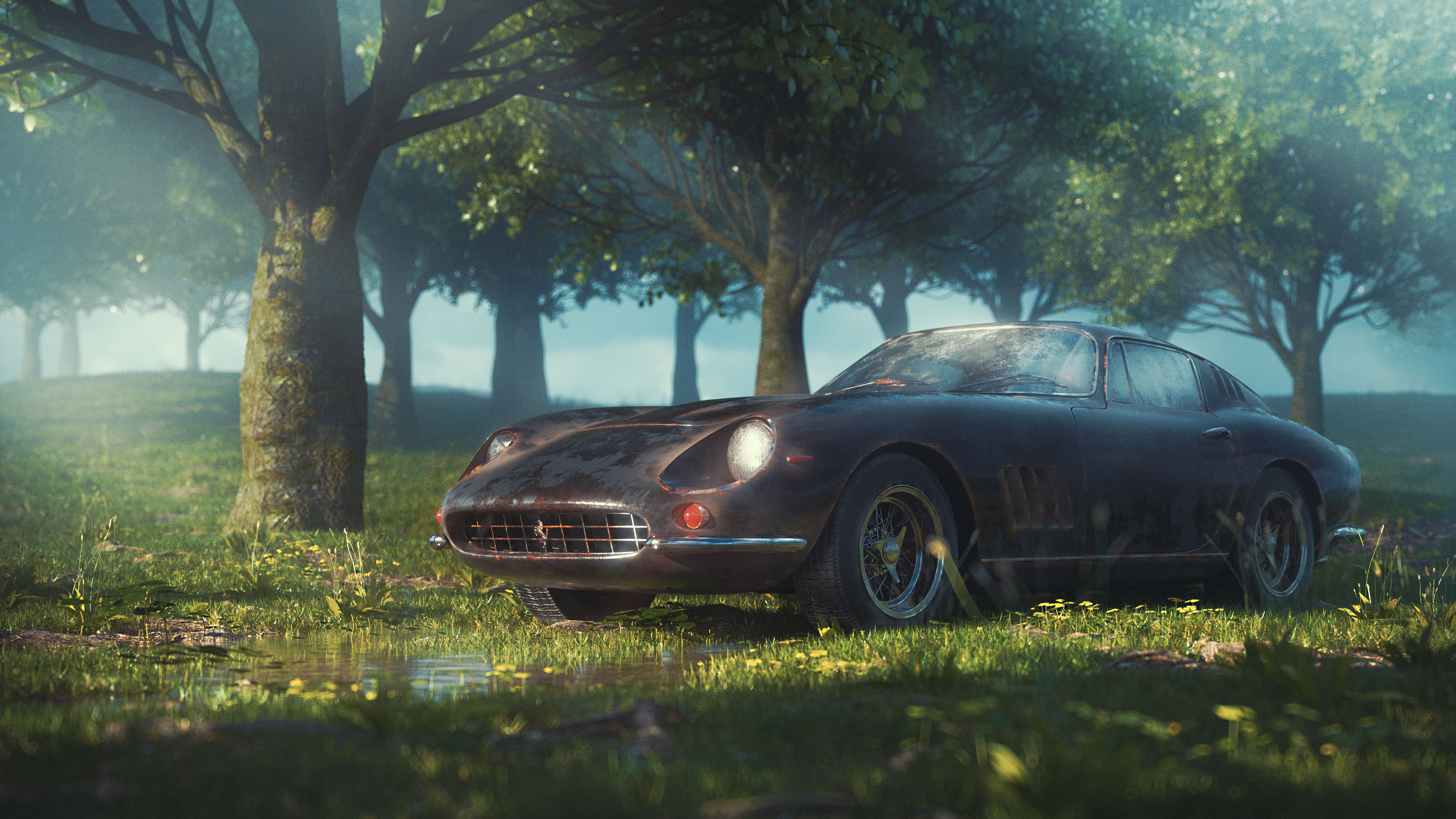 Vintage Ferrari In The Jungle 4k Car In Jungle Background 3840x2160 Wallpaper Teahub Io