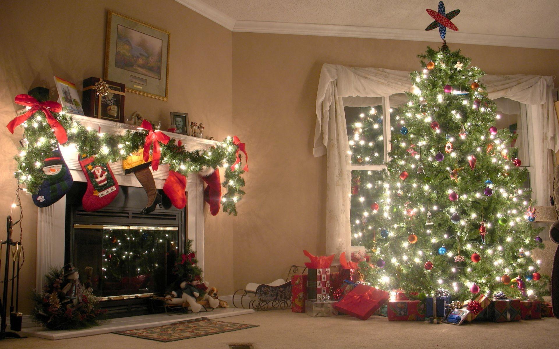 New Year Christmas Christmas Tree Interior Design Winter - Christmas Tree - HD Wallpaper