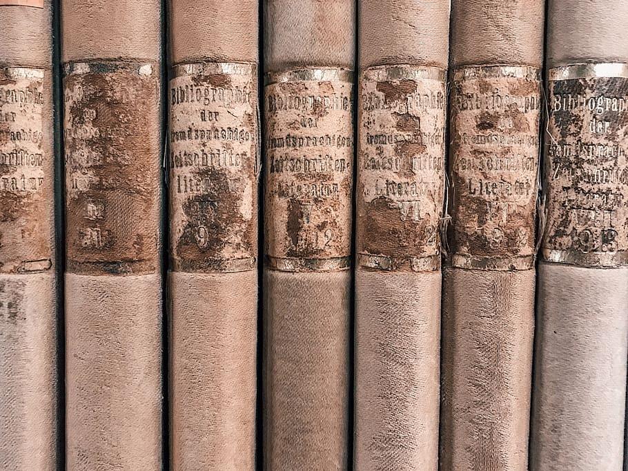 Close-up Photo Of Seven Brown Vintage Books, Novel, - HD Wallpaper