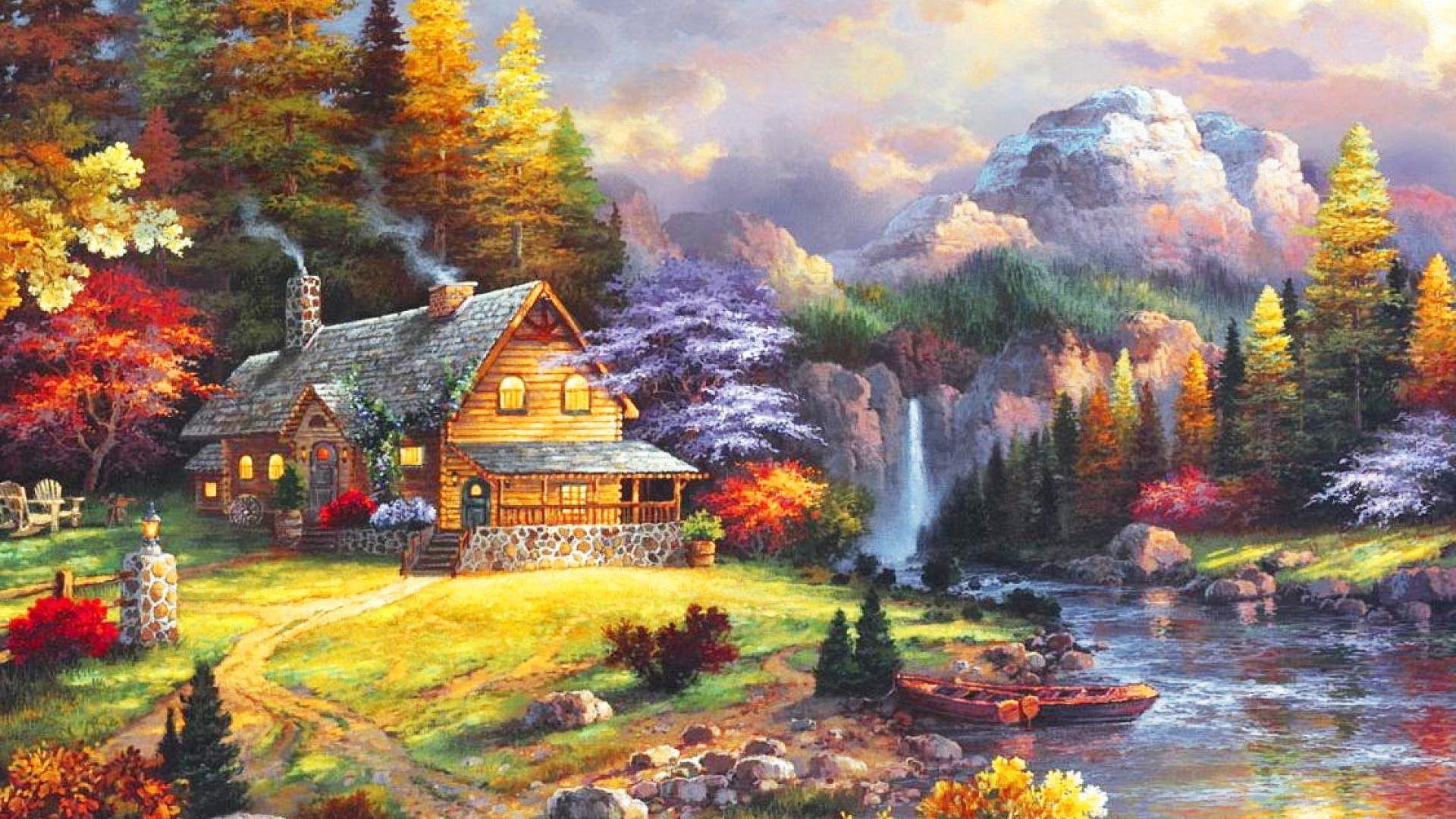 1920x1080, Beautiful Garden Waterfall River Cottage - Waterfall Beautiful Nature Flowers Garden - HD Wallpaper
