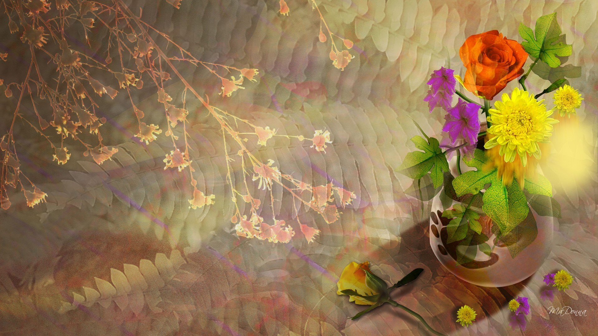 58 Fall Flowers Wallpapers On Wallpaperplay   Data - Hd Wallpaper Autumn Flowers - HD Wallpaper