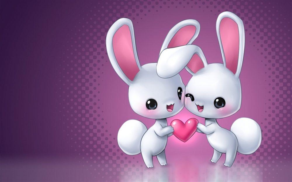 Cute Bunny Cartoon Love 1000x625 Wallpaper Teahub Io