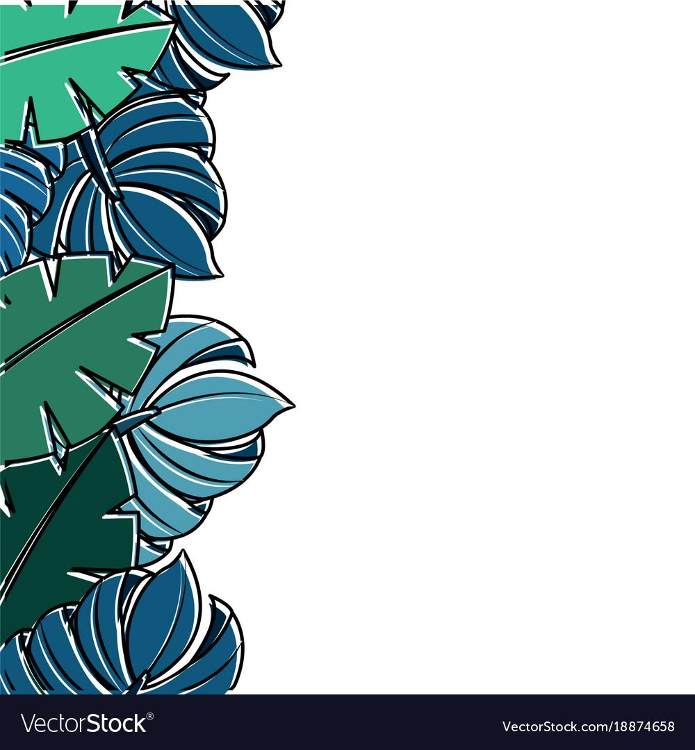Palm Tree Border Blue - HD Wallpaper