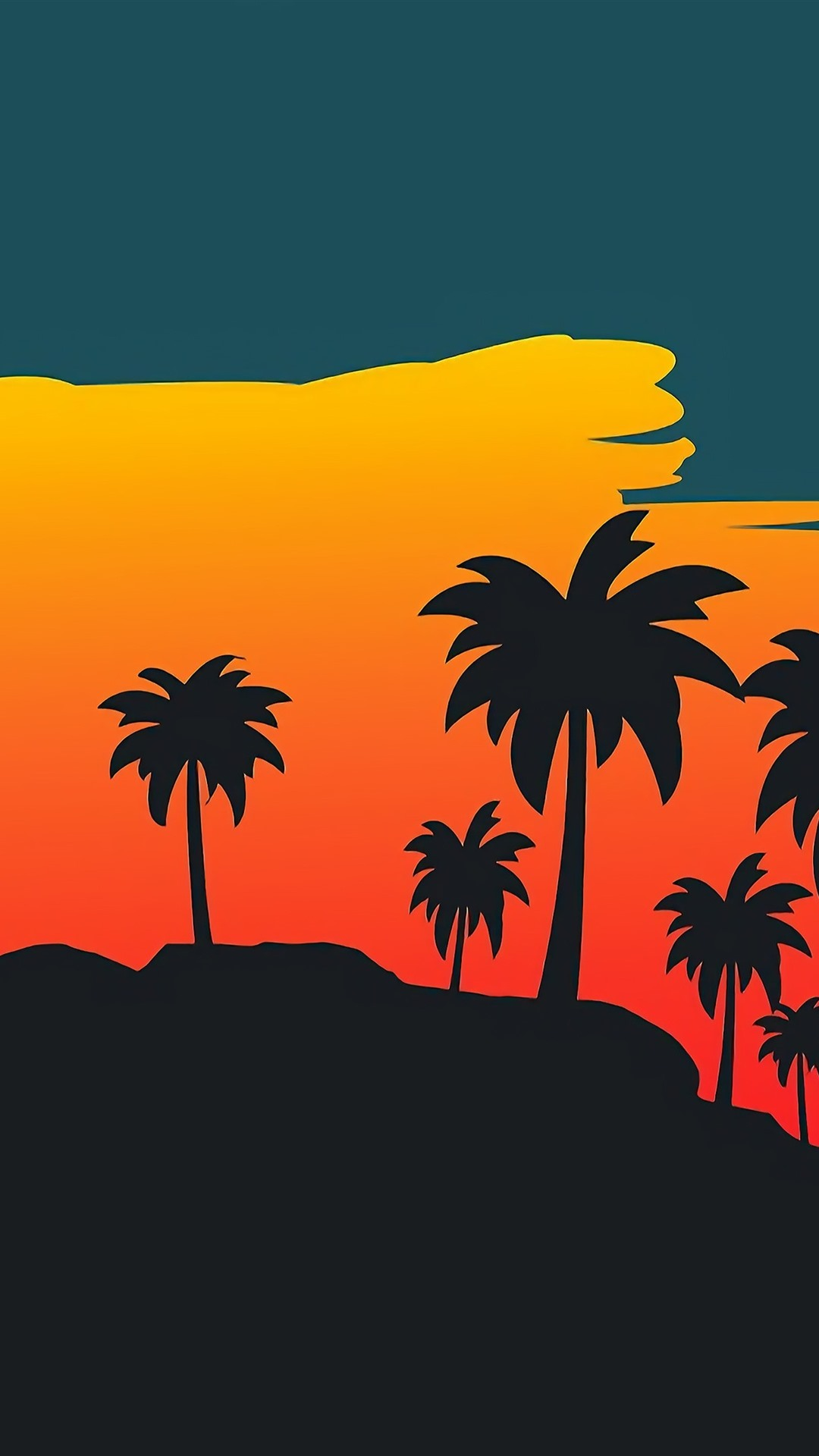 Iphone Wallpaper Palm Trees, Sunset, Vector Picture - Digital Wallpaper Iphone Sunset Palm Tree - HD Wallpaper