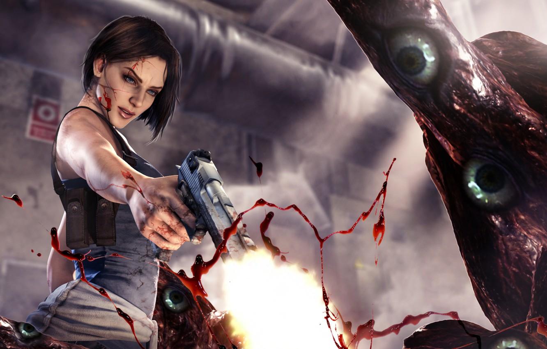 Photo Wallpaper Girl Gun Blood Monster Resident Jill