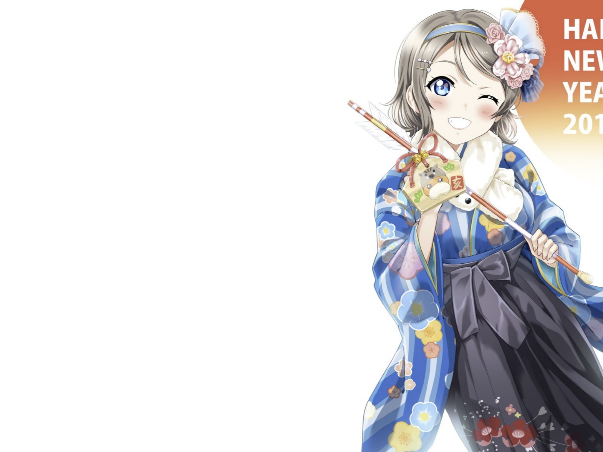 Watanabe You, Love Live Sunshine, Wink, Happy New Year - Anime - HD Wallpaper