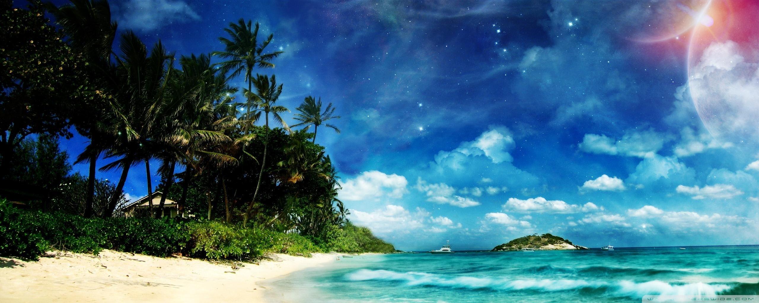 Dual Screen Wallpaper 4k Beach 2560x1024 Wallpaper Teahub Io