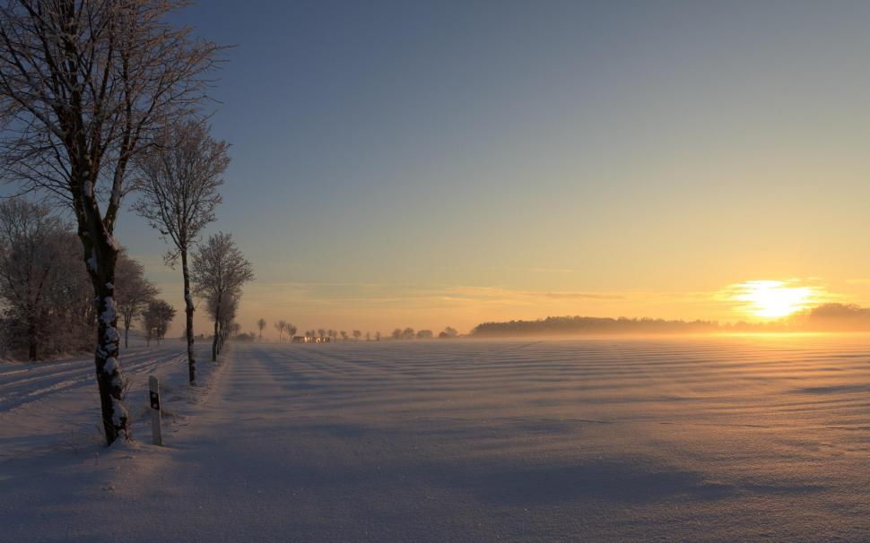 German Winter Sunset Wallpaper,nature Hd Wallpaper,beautiful - Sunset Beautiful Winter Nature - HD Wallpaper