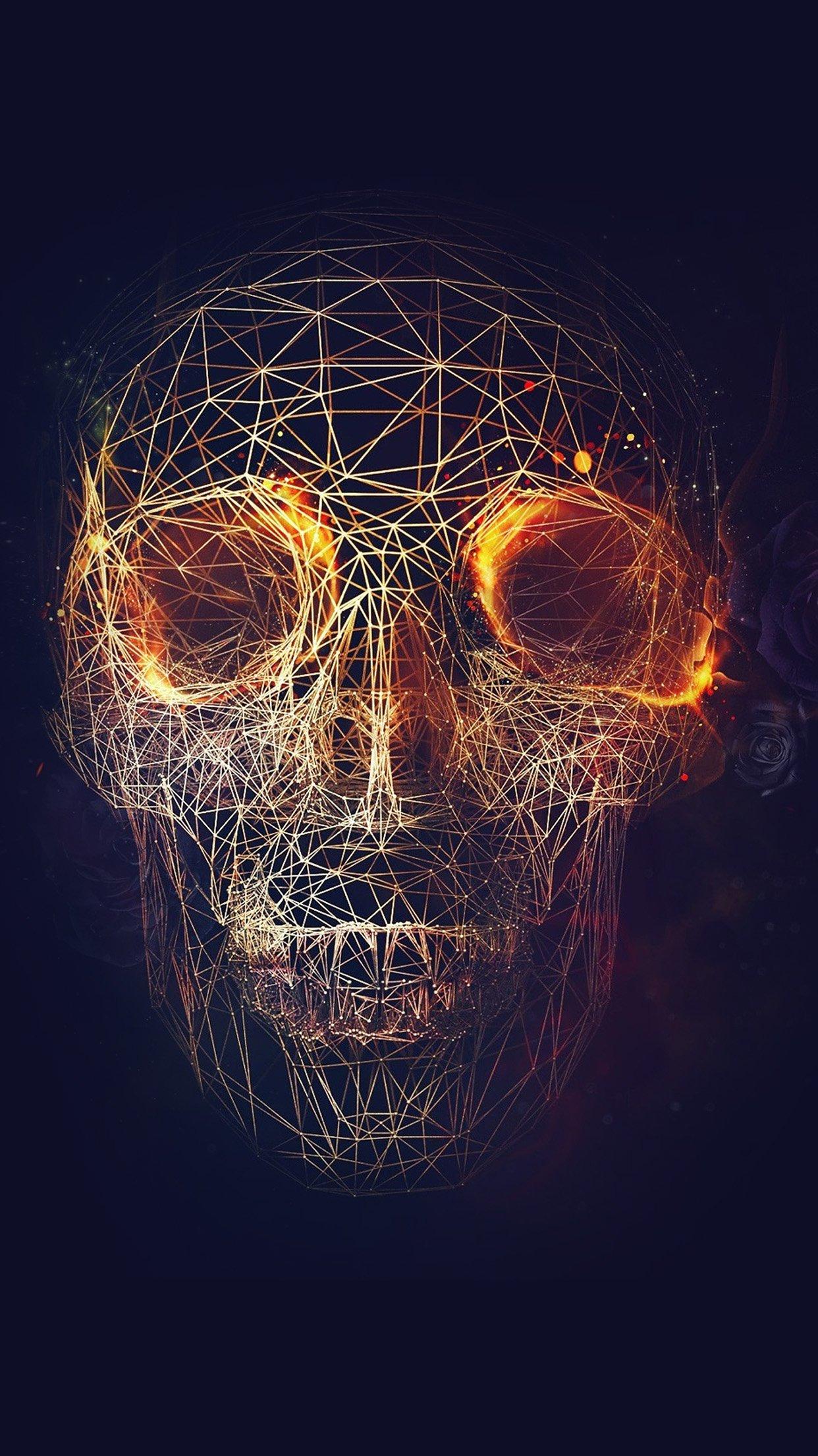 Digital Skull Dark Abstract Art Illustration Android - Phone Hd Wallpaper Abstract Skull - HD Wallpaper