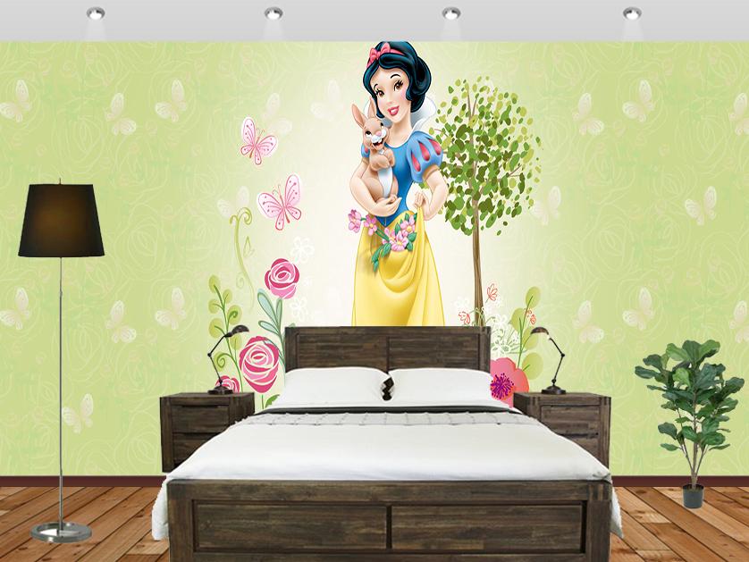 Snow White Disney Princess Wall Mural Bedroom - Brick Wall Pink Room - HD Wallpaper